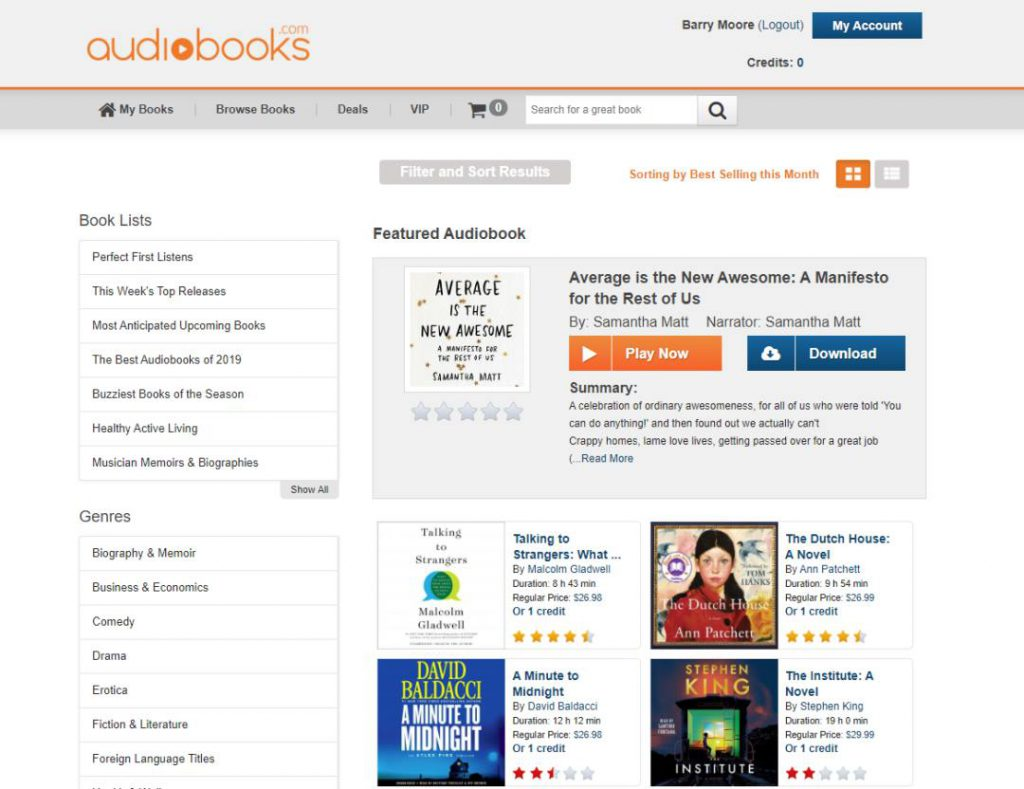 Browsing the Audiobooks.com Library